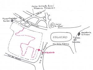 Übersichtskarte Wegführung Palatin und Forum Romanum
