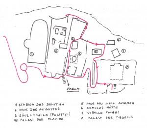 Detaillierter Weg Palatin / Kaiservilla